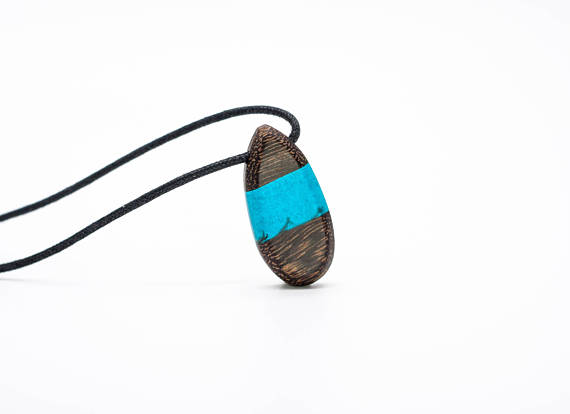 Blue resin and wood necklace