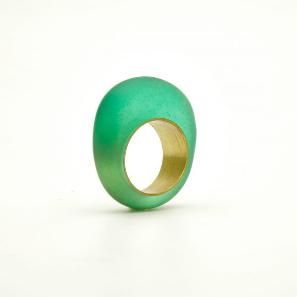 Green ring with eco resin and brass