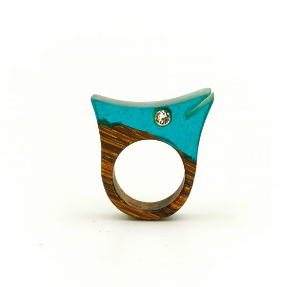 Resin and wood ring with swarovski 2