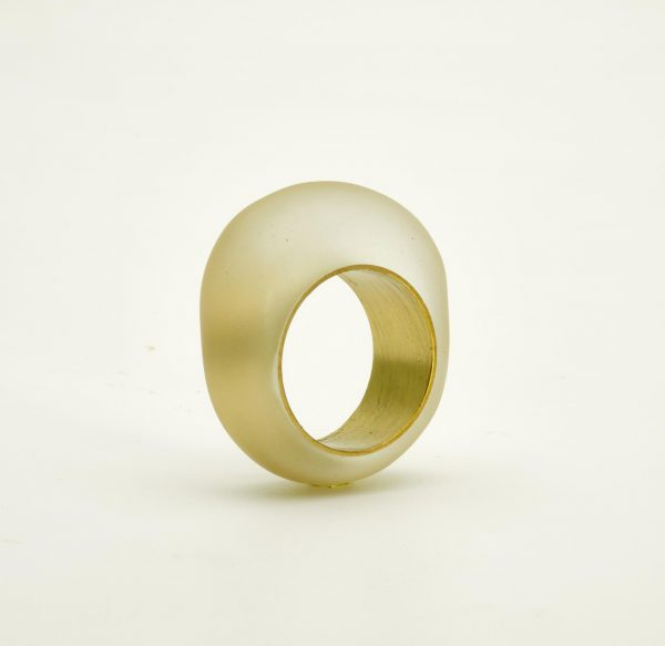 Transparent resin and brass ring
