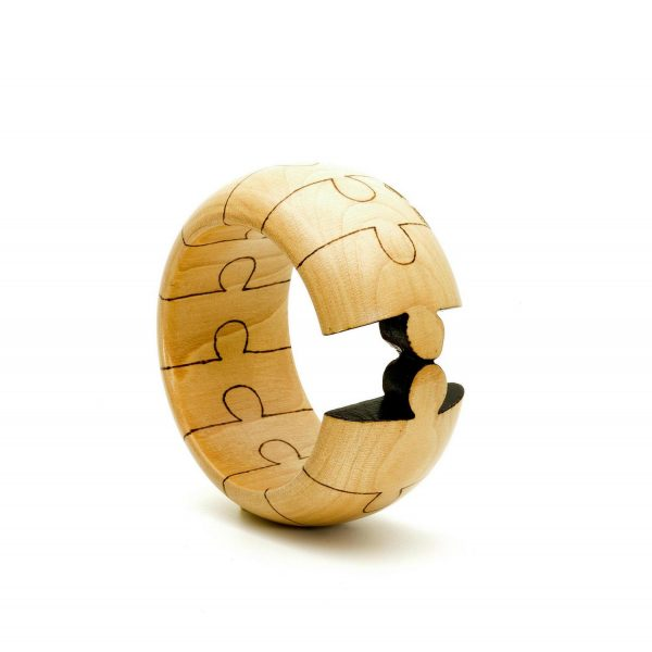 One of a kind puzzle wood bangle