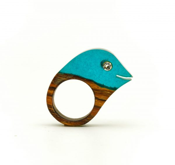 Resin and wood ring with swarovski