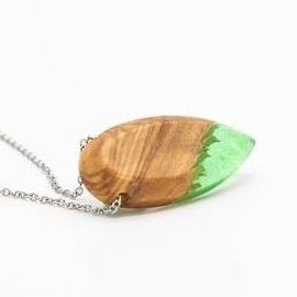 wood and resin pendant green
