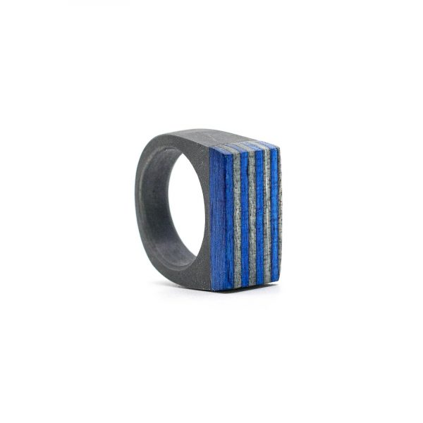 Grey and blue resin and wood ring