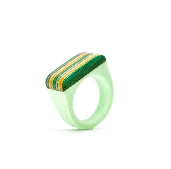 Light green resin and wood ring