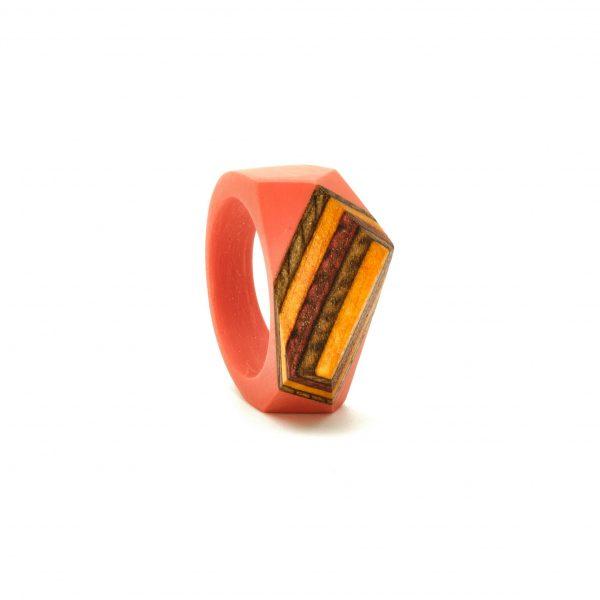 Salmon red wood resin ring