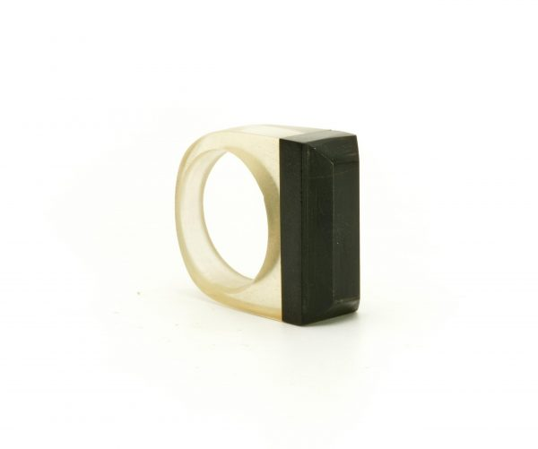 Transparent resin and ebony wood ring