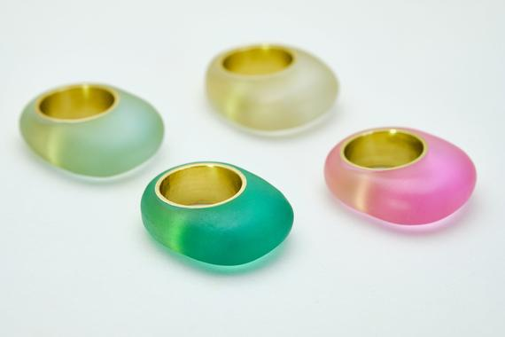 Eco-resin and brass colors ring