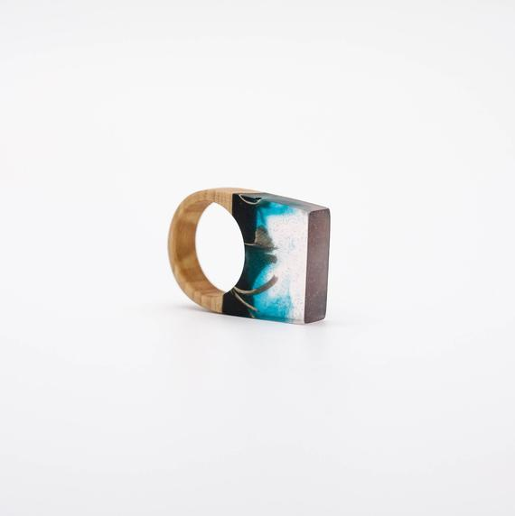 Resin and wood Ring – SIZE 10 US