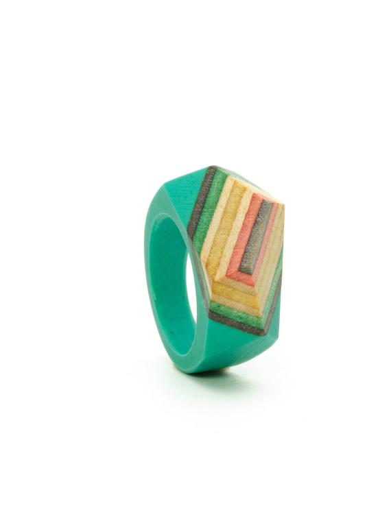 Resin and wood Ring  SIZE 6 1/2 US