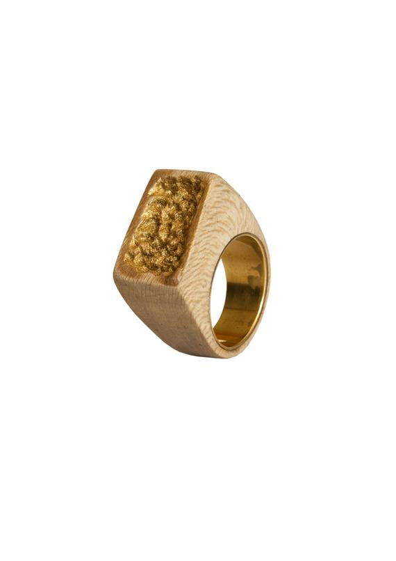 Ring wood and brass SIZE 7 1/2 US