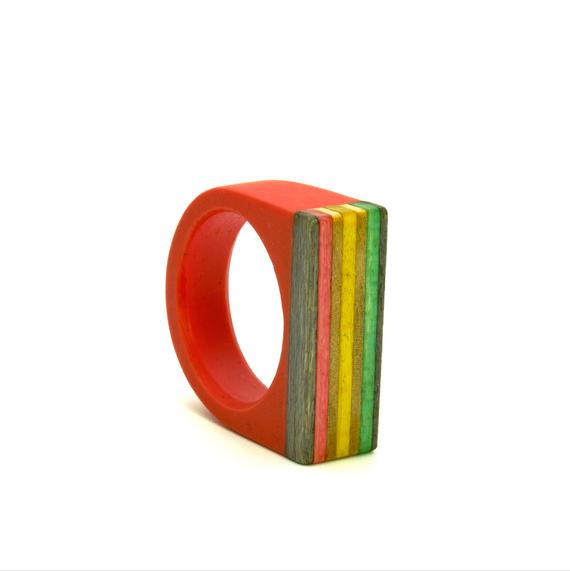 Skateboard wood and resin ring
