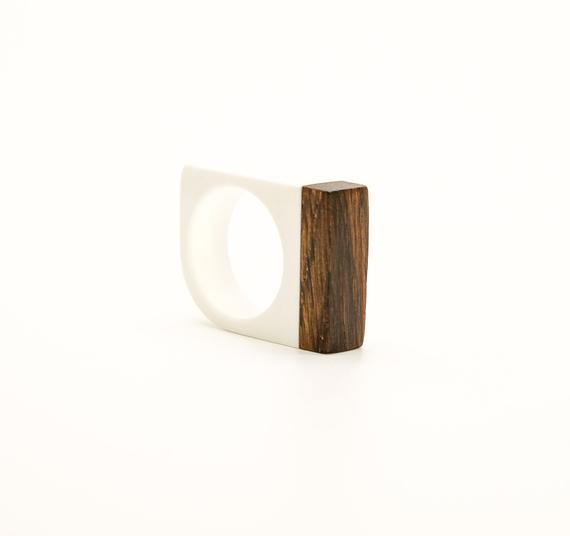 White acrylic resin and ancient black wood Ring
