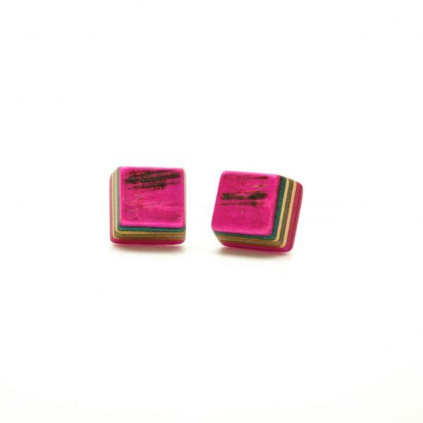 Skateboard wood earrings pink