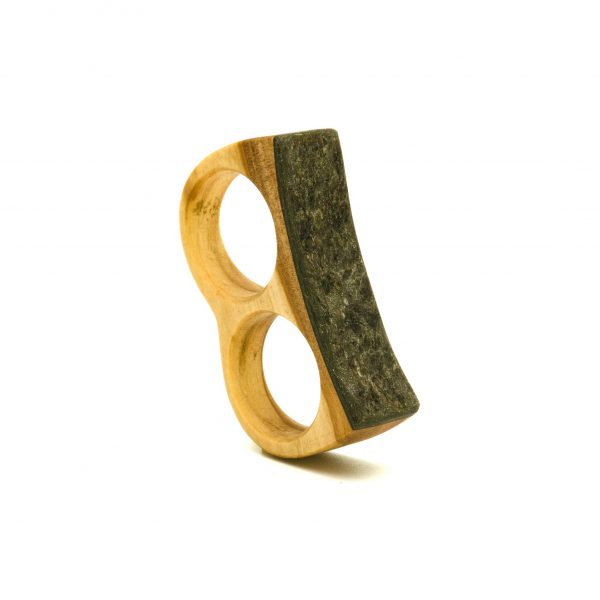 Olive wood and stone double ring