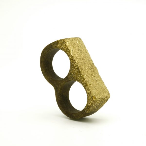 Golden powder double ring