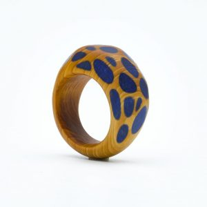 Yew wood faceted ring
