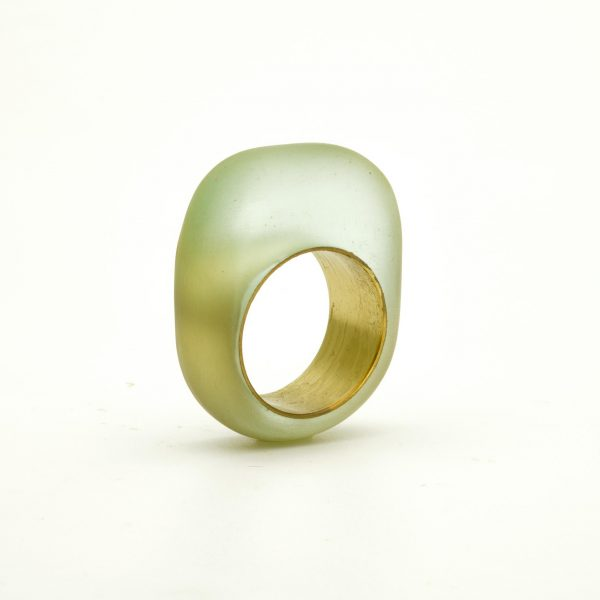 Light blue eco-resin and brass ring